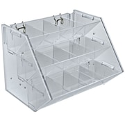 Azar Displays 12 Compartment 3 Step Counter/Pegboard/Slat Wall Tray, Clear (223012)