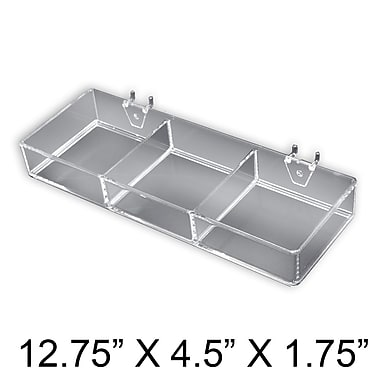 Azar Displays 3 Compartment Tray For Pegboard/Slat Wall, 2/Pack (225503)