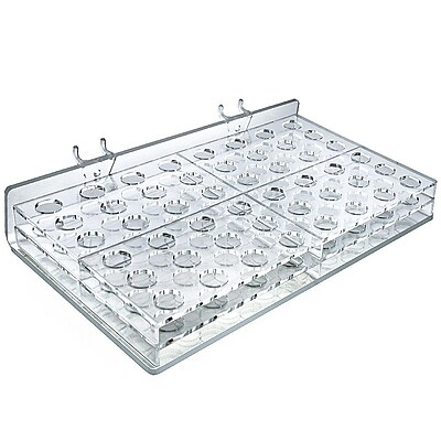 """Azar® 3/4""""(Dia) 48-Compartment Round Slot Mascara/Wand Tray or Pegboard, Clear, 2/Pk"""