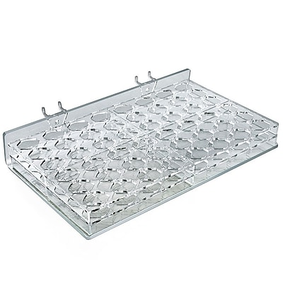 Azar® 48-Compartment Octagonal Slot Mascara/Wand Tray or Pegboard, Slatwall/Counter Top, Clear, 2/Pk