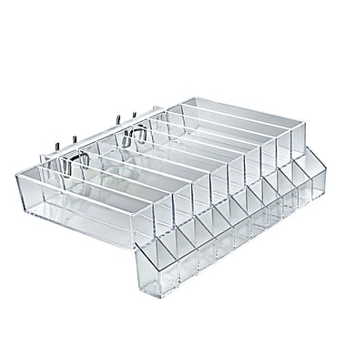 Azar Displays 10 Compartment Lipstick Tray With Tester For Pegboard, Slatwall/Counter Top, Clear