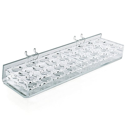 """""""""""Azar Displays 15/16""""""""""""""""(Dia) 24 Round Slot Mascara & Cosmetic Tray For Pegboard, Slatwall/Counter Top, Clear"""""""""""" 82935"""