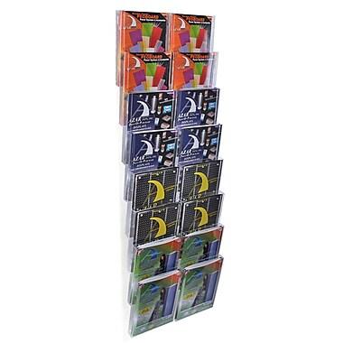 Azar Displays – Présentoir mural modulaire en polystyrène cristal, 51,75 x 19 po, 16 compartiments au format lettre (252325)