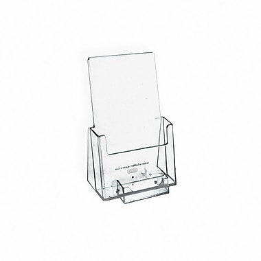 Azar® Counter Trifold Brochure Holder With Business Card Pocket, Clear