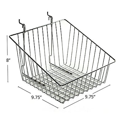 Azar Displays Sloped Wire Basket, Chrome, 8