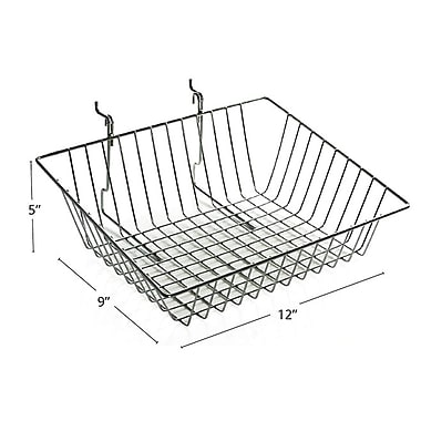 Azar Displays Sloped Wire Basket, Chrome, 9