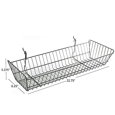 Azar Displays Wide Slanted Chrome Wire Basket, Chrome, 5.38