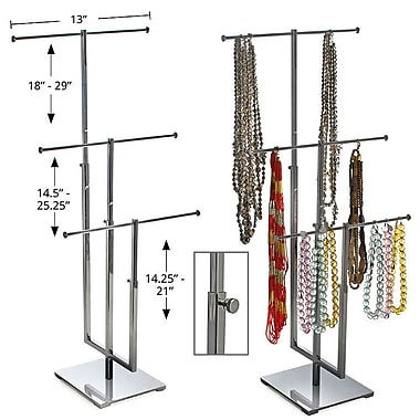 Azar Displays 3 Pole Necklace Display, Chrome (300653)