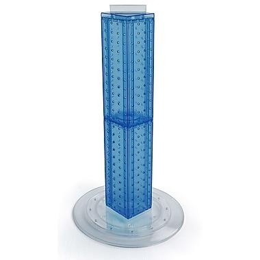 Azar Displays – Présentoir rotatif de comptoir à panneaux perforés sur 4 côtés, 24 x 4 x 4 (po), bleu translucide (700222-BLU)
