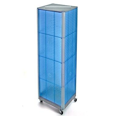 Azar Displays – Présentoir de sol à panneaux perforés sur 4 côtés et à roulettes, 60 x 16 po, bleu (700406-BLU)