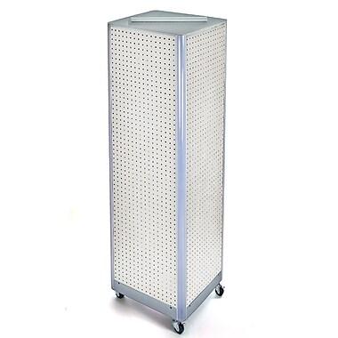 Azar Displays – Présentoir de sol à panneaux perforés sur 4 côtés et à roulettes, 60 x 16 po, blanc (700406-WHT)