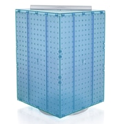 "Azar Displays 20""(H) x 14""(W) x 14""(D) 4-Sided Revolving Pegboard Display, Blue Translucent"