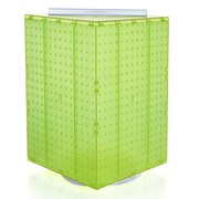 "Azar® 20""(H) x 14""(W) x 14""(D) 4-Sided Revolving Pegboard Display, Green Translucent"