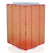 "Azar Displays 20""(H) x 14""(W) x 14""(D) 4-Sided Revolving Pegboard Display, Orange Translucent"