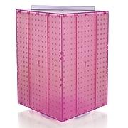 "Azar® 20""(H) x 14""(W) x 14""(D) 4-Sided Revolving Pegboard Display, Pink Translucent"