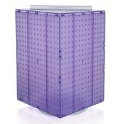 """Azar Displays 20""""(H) x 14""""(W) x 14""""(D) 4-Sided Revolving Pegboard Display, Purple Translucent"""
