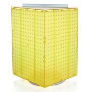 "Azar Displays 20""(H) x 14""(W) x 14""(D) 4-Sided Revolving Pegboard Display, Yellow Translucent"