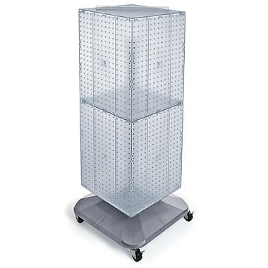 Azar Displays – Présentoir de sol à panneaux perforés emboîtables 4 côtés à roulettes, 40 x 14 x 14 po, transparent (701436-CLR)