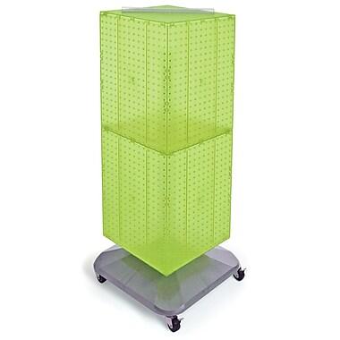 Azar Displays – Présentoir de sol à panneaux perforés emboîtables sur 4 côtés et à roulettes, 40 x 14 x 14 po, vert (701436-GRE)