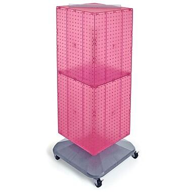 Azar Displays – Présentoir de sol à panneaux perforés emboîtables sur 4 côtés et à roulettes, 40 x 14 x 14 po, rose (701436-PNK)