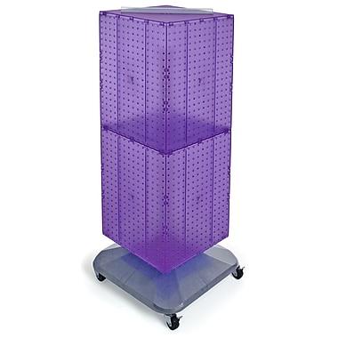 Azar Displays – Présentoir de sol à panneaux perforés emboîtables sur 4 côtés à roulettes, 40 x 14 x 14 po, violet (701436-PUR)