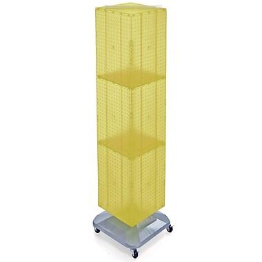 Azar Displays – Présentoir de plancher à panneaux perforés emboîtables sur 4 côtés, 60 x 14 x 14 po, jaune (701465-YEL)