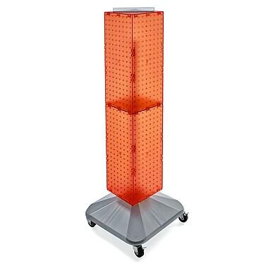 Azar Displays – Présentoir à panneaux perforés emboîtables sur 4 côtés, base carrée, tour, 40 x 8 x 8 po, orange (703388-ORG)