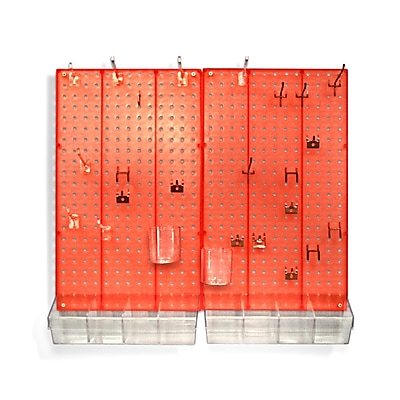 Azar® Pegboard Organizer Kit, Red Frosted