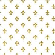 "Shamrock 20"" x 30"" Fleur de Lis Printed Tissue Paper, White/Gold"