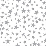 "Shamrock 20"" x 30"" Silver Stars Printed Tissue Paper, Silver/White"
