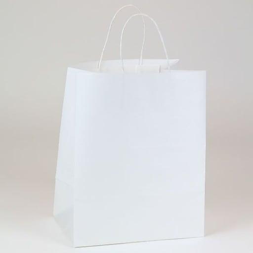 """Shamrock Paper 12.5""""H x 10""""W x 7""""D Bengal Shopper Bags, White Kraft, 250/Carton"""