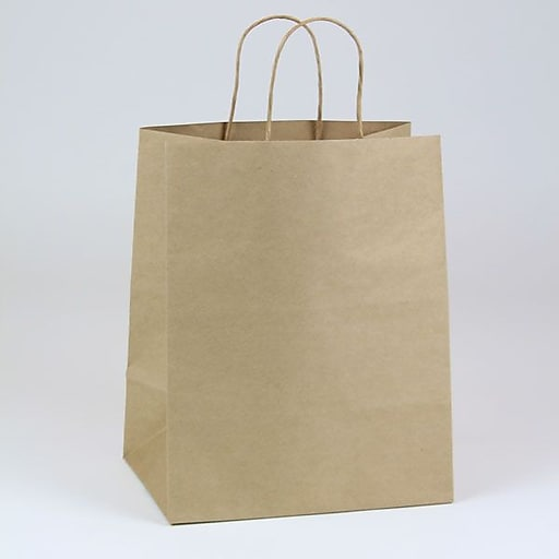 "Shamrock Paper 12.5""H x 10""W x 7""D Bengal Shopper Bags, Natural Kraft, 250/Carton"