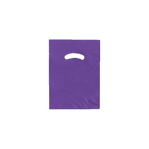 "Shamrock Plastic 12""H x 9""W Low Density Shopping Bags, Dark Purple, 1000/Carton"