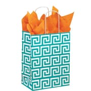 "Shamrock Kraft Paper 10.5""H x 8""W x 4.75""D Chimp Shopper Bags, Greek Key, 100/Carton"