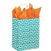 """Shamrock Kraft Paper 10.5""""H x 8""""W x 4.75""""D Chimp Shopper Bags, Greek Key, 100/Carton"""