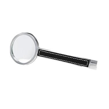 Natico – Loupe en métal argenté 2,5 x avec bordure en cuir, 6 x 2 3/6 (po)