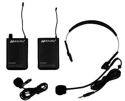AmpliVox Sound Systems S1601 Wireless Lapel & Headset Microphone Kit, Black