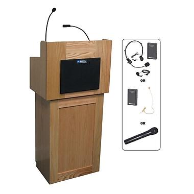 Amplivox Lectern, Wireless, Hardwood, Oxford, 2-Pc, Natural Oak