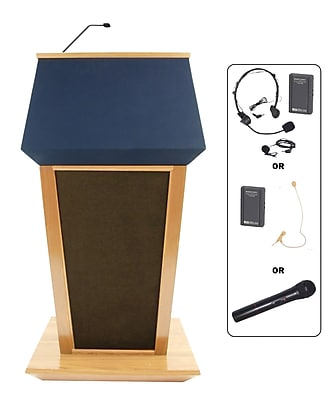 Amplivox Lectern, Hardwood, Wireless Sound, Patriot, Maple
