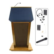 Amplivox Lectern, Hardwood, Wireless Sound, Patriot, Natural Oak