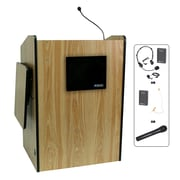 Amplivox Lectern, Wireless, Deluxe-Multimedia, Medium Oak
