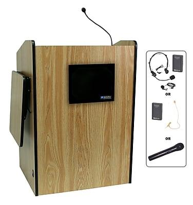 Amplivox Lectern, Wireless, Deluxe-Multimedia, Medium Oak