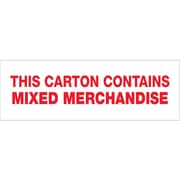 "Tape Logic® Pre-Printed Carton Sealing Tape, ""Mixed Merchandise"", 2"" x 55 yds., Red/White, 18/Case"