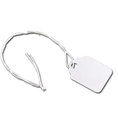 White Merchandise Tag With White String, 3/4