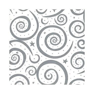 Papier de soie tourbillons argentés, 20 po x 30 po, blanc, 240/paquet