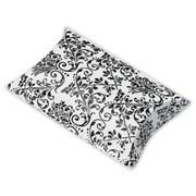 """Polyethylene Terephthalate 1""""H x 3""""W x 3.5""""L Damask Favor Pillow Boxes, White/Black, 12/Pack"""