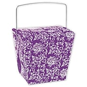 "4"" x 3 1/2"" x 4"" Damask Event Boxes, Purple"