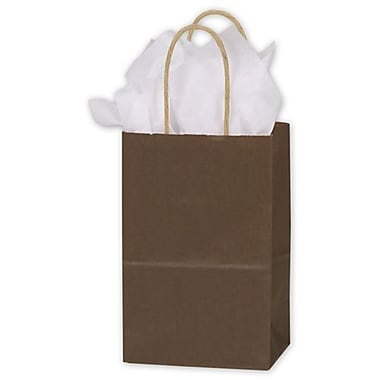 Sacs de magasinage en kraft coloré, 5 1/4 x 3 1/2 x 8 1/4 (po), chocolat, 250/paquet