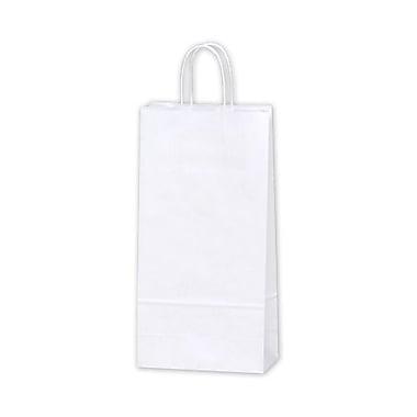 Sacs de magasinage à double bouteille en papier, 6 1/2 x 3 1/2 x 13 po, blanc, 250/paquet