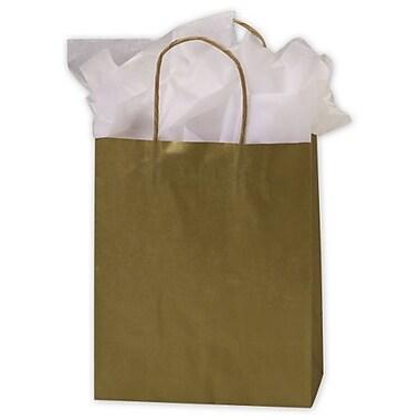 Sacs de magasinage en kraft couleur métallique, 8 1/4 x 4 1/4 x 10 1/2 (po), doré, 250/paquet